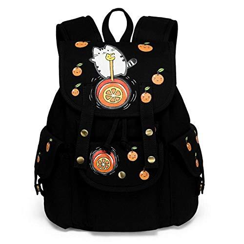 Sac à Dos en Toile Peinte à la Main Femme Grande Capacité Junior High School Student Bag High School Simple College Style Drawstring Backpack