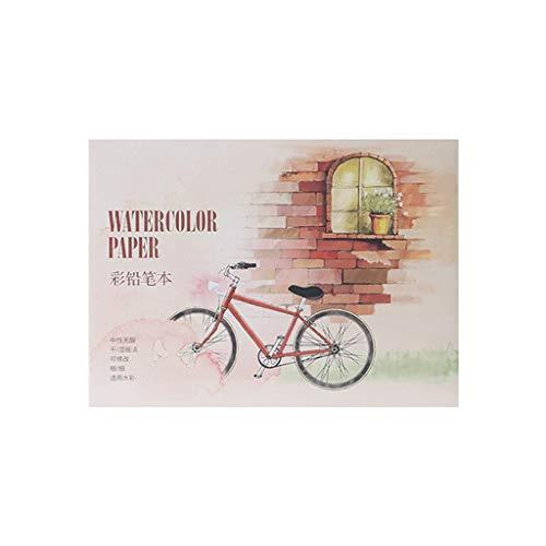 Ixkbiced Papel de Cuaderno de bocetos de Acuarela de 12 Hojas A5 / A6 para Dibujar, Pintar, Colorear, lápiz, Libro