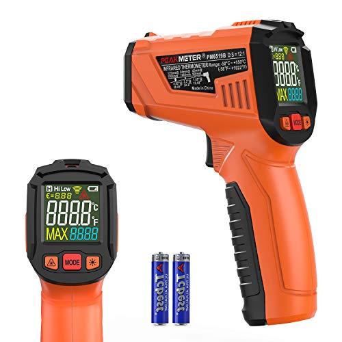 Termómetro infrarrojo, PeakMeter Termómetro láser digital portátil, Pistola de temperatura sin contacto de lectura instantánea -50 ℃ ~ 550 ℃ con pantalla LED en color Termómetro industrial