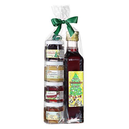 Geschenkset aus dem Allgäu | 250ml Weihnachtssirup für Glühwein und Punsch | Weihnachts Marmeladen-Honig Geschenkset | Handgemachte Fruchtaufstriche | Deutscher Honig (250ml+4x50g)