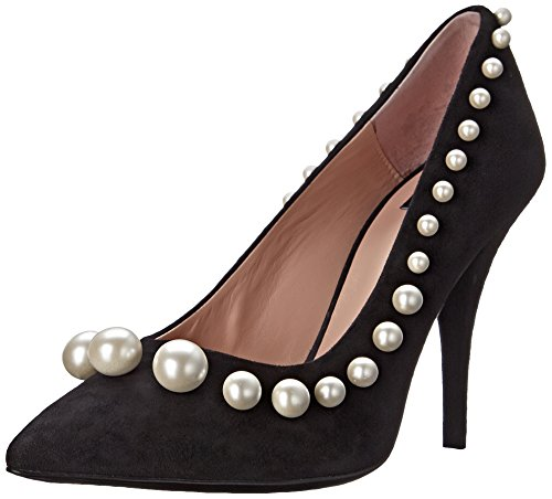 Moschino Cheap and Chic Womens Suede Pearl Dress Pump, Black, 38.5 EU/8.5 M US