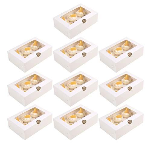 Hakka Caja para 6 Cupcakes con Ventana Y Bandeja 10 Piezas de Cajas de Panadería Cajas de Regalo Caja de Embalaje de Pastel Favores de Fiesta para La Tienda de Postres