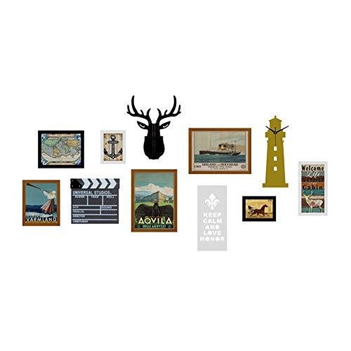 ZXZ-GO Lettres Murales Photo Grande Taille Personnalité Décoration Murale Décoration Murale Cadre en Bois Massif Combinaison De Cadre Créatif (Couleur: Noir Et Blanc)