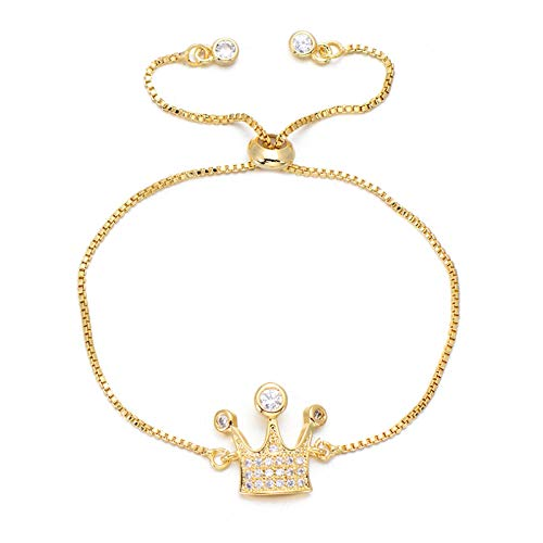Jewellery Bracelets Bangle For Womens Shiny Cubic Zirconia Crown Bracelet Lovely Rose Gold Color Chain Bracelets & Bangles Jewelry For Women Girl Gold