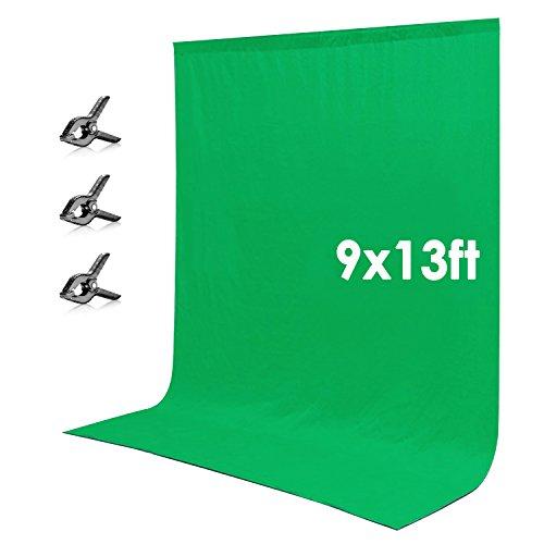 Neewer 2,8 x 3,9 Meter grünes Hintergrund Chromakey aus Baumwolle mit 3 Klammern für Fotostudio Fotografie
