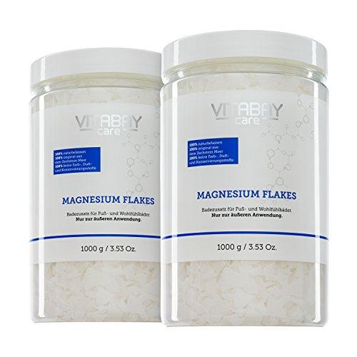 Vitabay Original Zechstein Magnesium Flakes 2000 g • Magnesiumchlorid • Dermatologisch getestet • Badezusatz