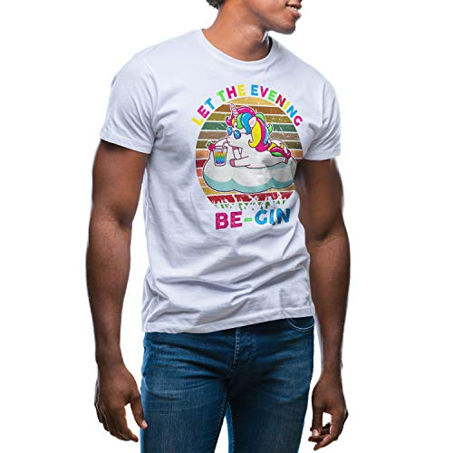 Let The Evening Be-Gin Unicorn Retro Herren Weißes T-Shirt Size XXL