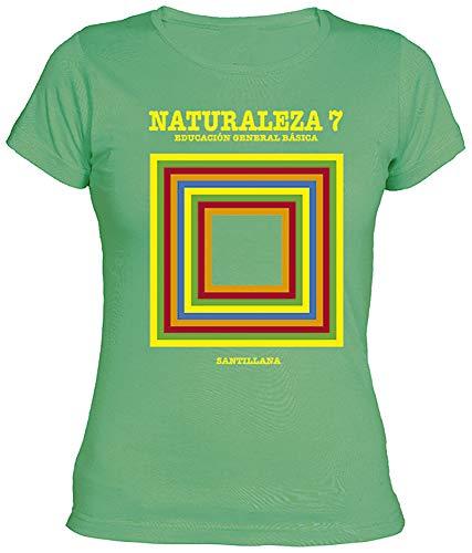 Camisetas EGB Camiseta Chica Libro Naturales EGB ochenteras 80´s Retro (S, Verde)