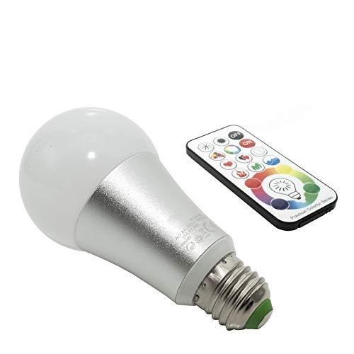 Bombilla LED RGBW 16 W casquillo E27 multicolor cromoterapia mando a distancia IR 220 V