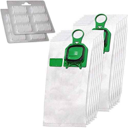 Juego de 12 premium bolsas de aspiradora de microfibra + 12 ambientadores adecuadas para Folletto Vorwerk Kobold 140, 150, VK 140, VK 140, VK150, VK150, FP140, FP150 - con cierre higiénico