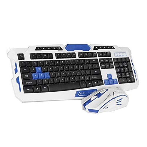 YYZLG draadloze muis en toetsenbord instellen snel responsief, ideaal voor typen, kantoor, dagelijks spel toetsenbord en muis Set, size, Witblauw.