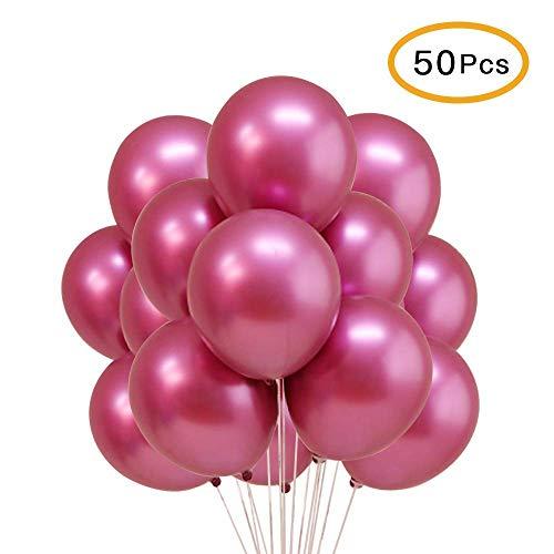 Topeedy Party Luftballon 50pcs 12 '' Inch Shiny Rose Red Metallic Helium Latex Luftballons Hochzeit Geburtstag Dekorationen
