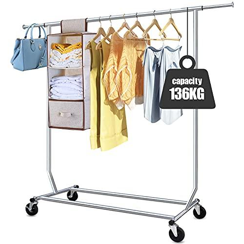 Camabel Perchero Burro Perchero de ropa con ruedas Ajustable 130-189cm Capacidad de Carga de 136kg Todo el metal Cromado Con freno