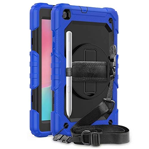 HHF Tab Accessories For Samsung Galaxy Tab A 8.0 inch SM-T290 T295 T297 2019, hand & Shoulder Strap Silicone Shockproof Armor Stand Case For Samsung Galaxy Tab A 8.0 (Color : Blue and Black)