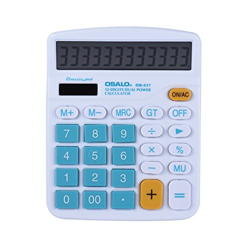 Walmeck Handheld Colorful Standard Function Desktop Electronic Calculator Solar and Battery Dual Powered 12 Digits Blue