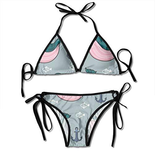 Funny Z Damen Bikini Set mit Bandage Wale und Anker Halfter Badeanzüge Zweiteiliger Badeanzug