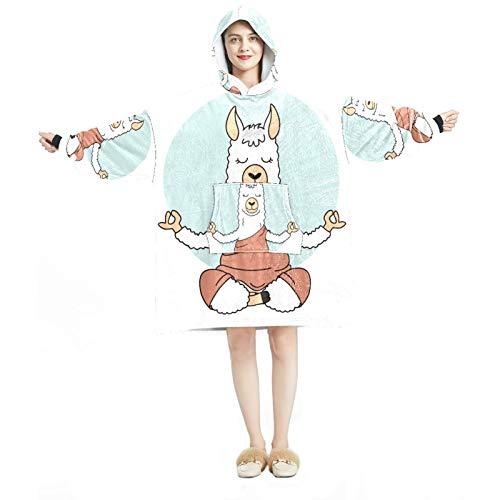 Sudadera con capucha para mujer, cómoda para mujer, chándal, calentito, calentito, calentito, animal, alpaca con cactus