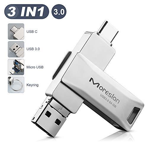 Pendrive 64 GB, Memoria USB 3.0 3 en 1 Pen Drive Tipo C USB 3.0 Type C OTG Unidad Flash portátil Memoria Stick USB Impermeable para Almacenamiento de Datos Externo/Windows/Android/PC/Tabletas