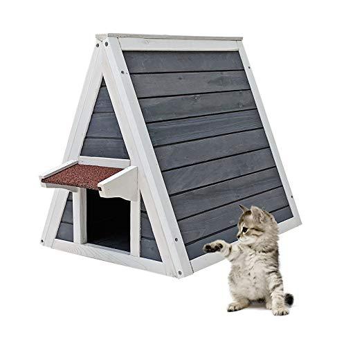 Wiltec Wetterfestes Katzenhaus aus Holz 51 x 50,5 x 48,5 cm mit Eingang und Fluchttür