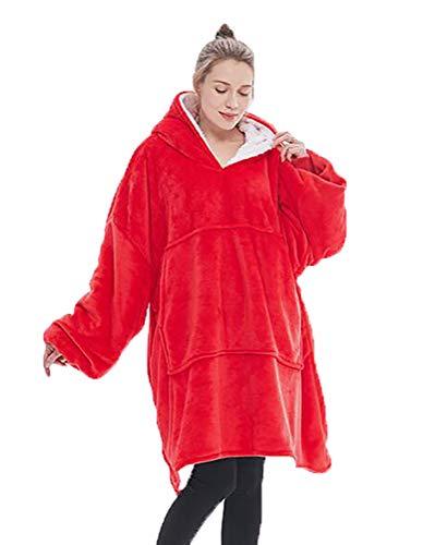 KPII Manta Mujer De Sudadera con Capucha, Mantas Super Soft Warm Sweatshirt, Hoodie para Hombre y Mujer,Rojo,One Size