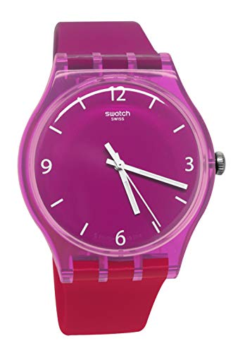 Swatch SUOV104 - Reloj analógico con correa de silicona, color morado, blanco y rojo