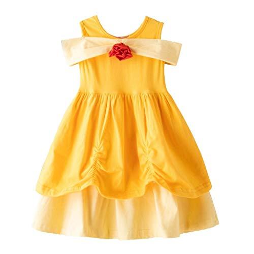 Lito Angels Disfraz de princesa Belle para nias pequeas, disfraz de Halloween, fiesta de cumpleaos, de algodn, de 2 a 3 aos