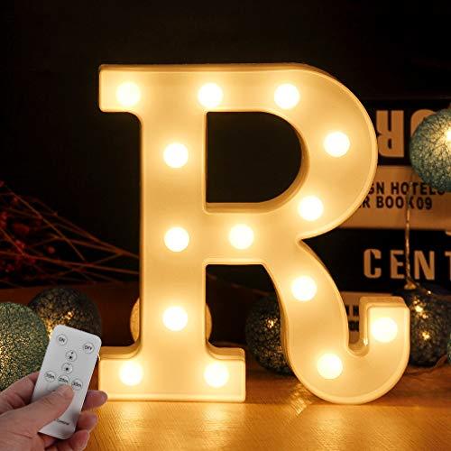 LED Buchstabe Lichter Alphabet Zeichen mit drahtloser Timer Fernbedienung Dimmable Led dekoration für Geburtstag Party Hochzeit & Urlaub Haus Bar (Buchstabe R)