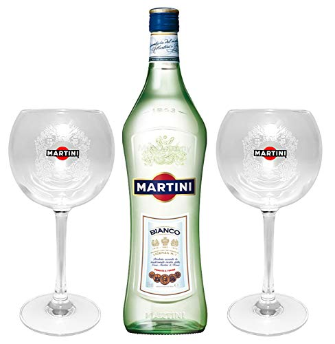 Martini Bianco 1,0l (14,4% Vol) + 2x Martini Ballon Gläser Glas Bar Longdrink- [Enthält Sulfite]