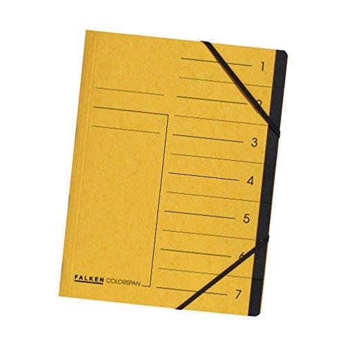 Original Falken Premium Ordnungsmappe. Made in Germany. Aus extra starkem Colorspan-Karton DIN A4 7 Fächer und 2 Gummizüge mit Organisationsdruck gelb Ringmappe Register-Mappe