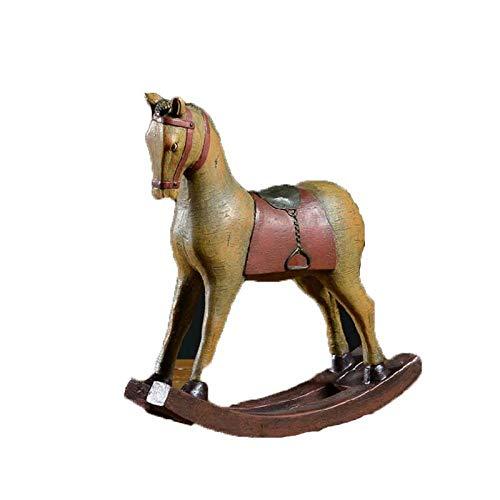LJXLXY Ontwerp Schommelende Hars Paard Figurines Amerikaanse Stijl Gekleurde Tekening Decoratie Miniatuur