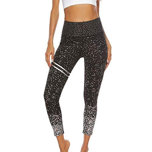 WFDDSD Yoga-Leggings für Damen,Hochwertige, modisch Bedruckte, Yoga Workout Stretch Leggings Schwarz S