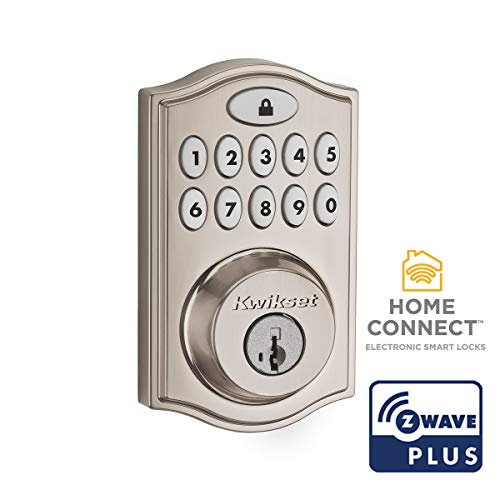 Kwikset 99140-023 SmartCode 914 Traditional Smart Lock Keypad Electronic Deadbolt Door Lock With SmartKey Security and Z-Wave Plus, Satin Nickel