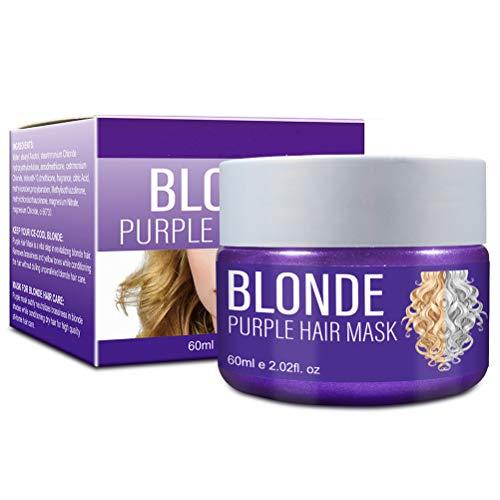 Mascarilla para el cabello morado de 60 ml, Mascarilla para el cabello morado, Mascarilla hidratante tonificante para el cabello con toque de plata, Mascarilla para el cabello de reparación profunda