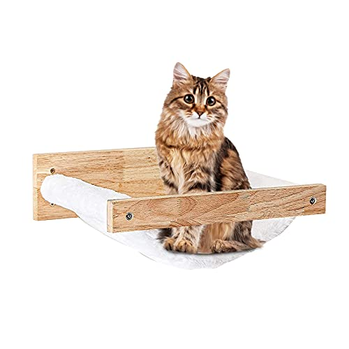 Cat Hammock Wall Mounted Large Cats Shelf - Modern Beds and Perches - Premium Kitty Furniture for Sleeping, Playing, Climbing, and Lounging - Easily Holds up to 40 lbs, White Flannel (White Flannel)