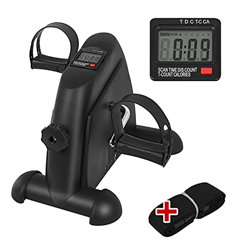 Feesiluu Mini Exercise Bike, Under Desk Pedal Exerciser with LCD Display for Leg Arm Workout, Portable Physical Therapy Exercise Bike with Fixing Strap for Home and Office Fitness(Black)