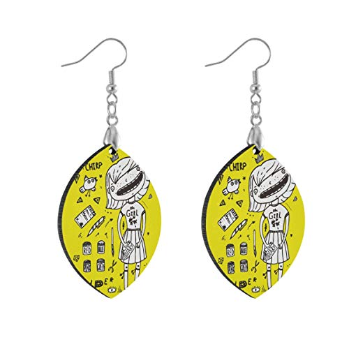 Leaf Earring Princess Girl Yellow Fashion Earrings Women Girls for Valentine's Day Double Layered Lightweight