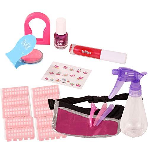 Götz 3403187 Hair & Beauty Styling- und Schminkset für Puppen - Zubehör zum Schminken und Stylen - 21-teiliges Stylingset für Stehpuppen und Schminkköpfe
