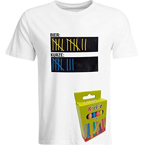 T-Shirt Bier Kurze Strichliste inkl. 12er-Pack Kreide JGA Tafel Beschreibbar Saufen Mische Schnaps Alkohol Saufshirt Party Feiern Funshirt (Schwarz/Navy/Weiß), Farbe: Weiß, Größe: XXX-Large