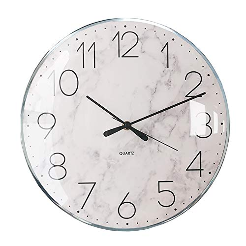 Nordic Silver Marble Wall Clocks Battery Operated, 13 inches Large Wall Clock Silent Non-Ticking, Minimalist Modern Decorative Clocks for Living Room, Bedroom, Office Decor