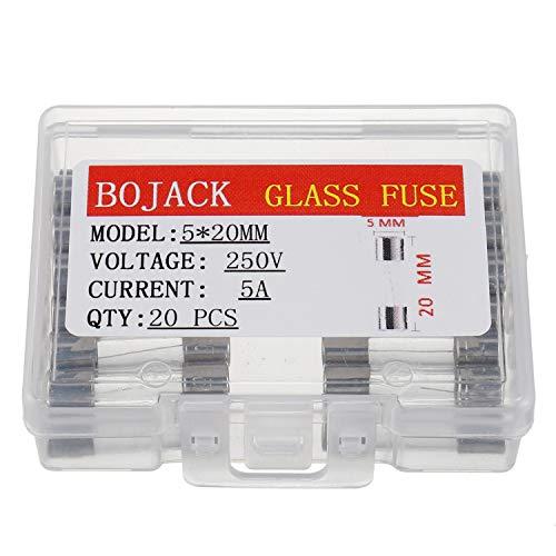 BOJACK F5AL250V 5x20 mm 5A 250V Schnell schmelzen Sicherungen 5 Ampere 250 Volt 0,2 x 0,78 Zoll Glasröhren sicherungen(Packung mit 20 Stück)