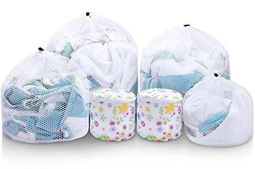RAVPHICS 6er Set Wäschenetze Wäschebeutel Wäschesack für die Waschmaschine, 4 Wäschenetz groß mit Kordelstopper, 2 BH Wäschebeutel klein, Wiederverwendbare, Geeignet für Mäntel, Hosen, bras, Socken
