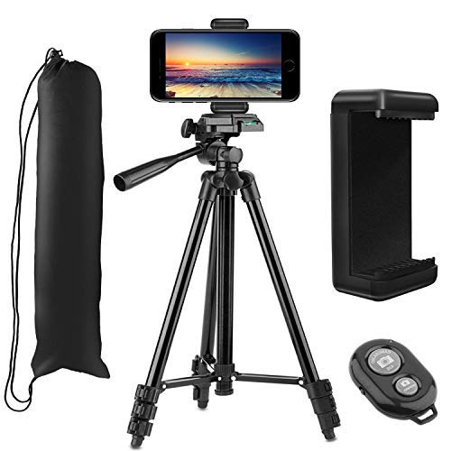 PEMOTech Trípode Móvil (50'' / 128 cm), 4 en 1 Trípode Cámara Réflex con Remoto Bluetooth, Soporte de Teléfono, Bolsa, Trípode para iPhone, Compatible para Samsung, Huawei, DSLR