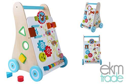 3in1 Multifunktions Lauflernwagen aus HOLZ ECO Baby Lauflernhilfe mit Sorter, Matze, Abakus, Schicht Holzspielzeug pädagogische Drücker ekmTRADE