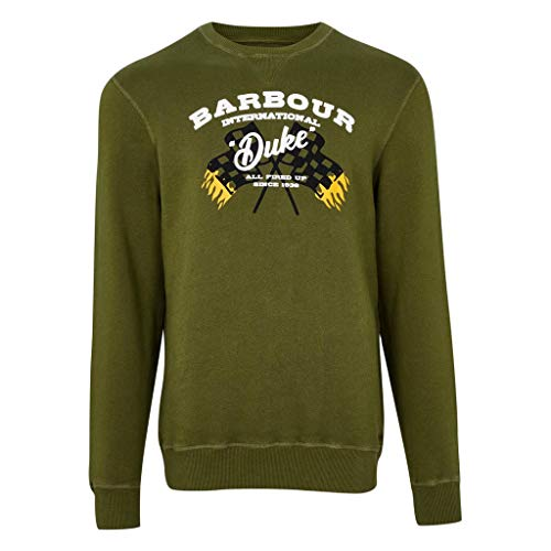 Barbour International Sudadera de hombre verde Famous Duke Sweatshirt Vintage Green S