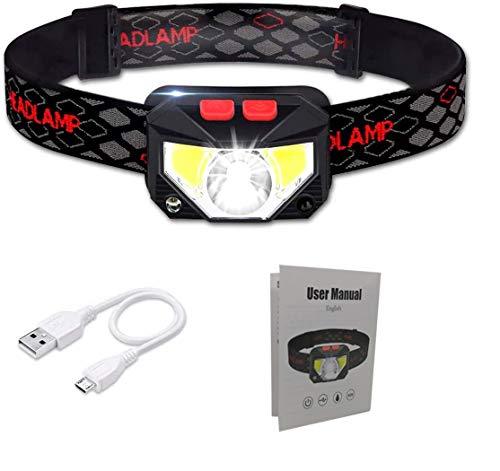 Rluobo Linterna Frontal LED USB Recargable, Linterna de Cabeza led Recargable, 8 Modos de Uso (Luz Blanca/Luz Roja/Sensor). Linterna Frontal Led para Correr, Acampar, Pescar, Ciclismo