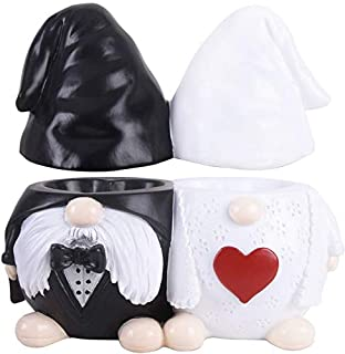 Vencer Resin Wedding Gnome Bride & Groom,MR.&MRS.Ring Jewelry Tray-His and Hers Two Section Trinket Tray for Wedding and E...