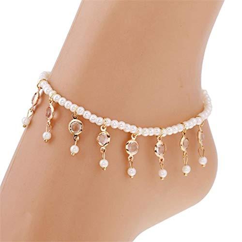 LJSLYJ Einfache simulierte Perle Knöchel Armband Kristall Quaste Elastische Fußkette Fußkettchen für Frauen Boho Schmuck