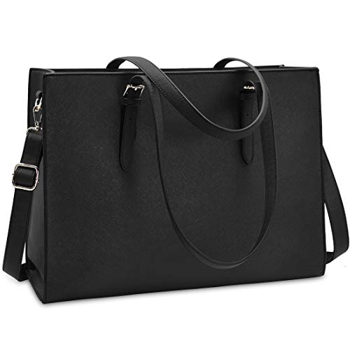 Laptop Bags for Women 15.6 inch Large Leather Tote Bag Ladies Laptop Handbag Computer School Shoulder Bag Business Work Bag Black