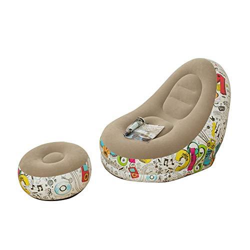 Draulic Aufblasbarer Sessel Garten Aufblasbares Sofa Entspannungsstuhl TV Sessel Air Chair Mit Fußschemel Aufblasbare Möbel Tragbarer Sitzsack Lazy Club Chair Für Yard Home