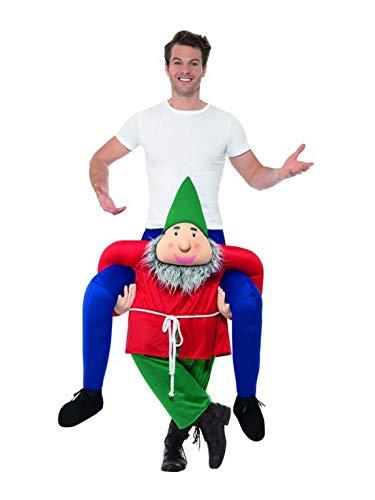 Luxuspiraten - Costume da uomo da uomo Huckepack da uomo su nano, piggyback GNOME Elf Dwarf, perfetto per Natale, Carnevale e carnevale, taglia unica, rosso